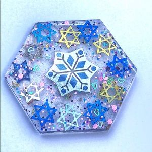Handmade Jewish Star Snowflake Decor coaster